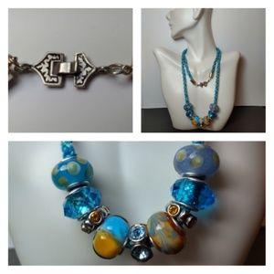 Vibrant Blue Green Orange Crystal Silver Necklace